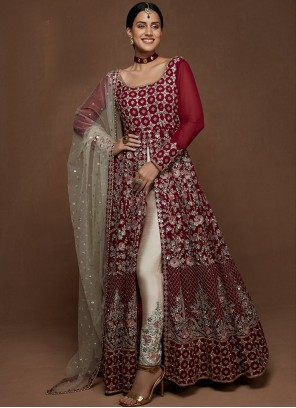 Faux Georgette Embroidered Floor Length Anarkali Suit in Maroon and Off White