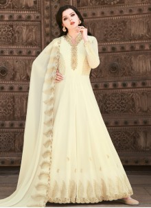 Faux Georgette Embroidered Floor Length Anarkali Suit in Off White