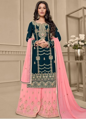Faux Georgette Embroidered Green and Pink Designer Pakistani Salwar Suit