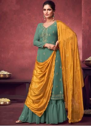 Faux Georgette Embroidered Green Designer Palazzo Salwar Kameez