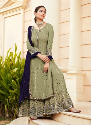 Faux Georgette Embroidered Green Designer Palazzo Suit
