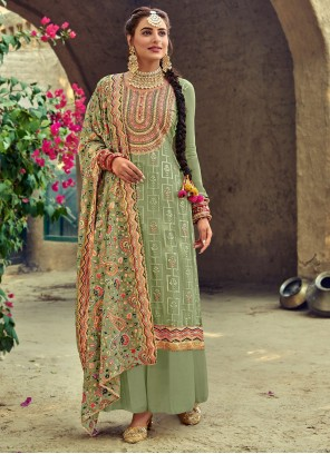 Faux Georgette Embroidered Green Designer Salwar Suit
