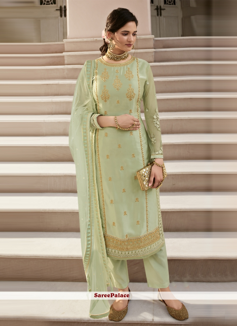 Faux Georgette Embroidered Green Pant Style Suit