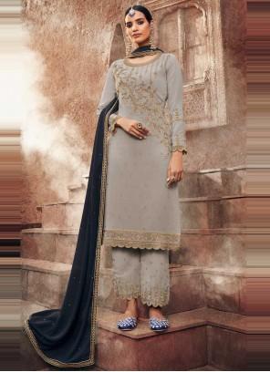 Faux Georgette Embroidered Grey Designer Pakistani Suit