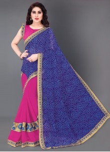 Faux Georgette Embroidered Half N Half  Saree in Blue and Pink