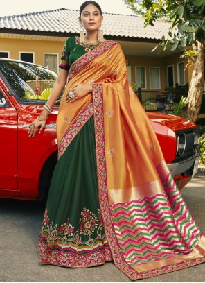Faux Georgette Embroidered Half N Half  Saree in Green and Orange