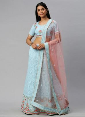Faux Georgette Embroidered Lehenga Choli in Blue