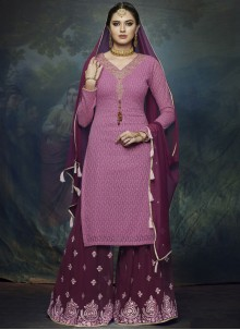 Faux Georgette Embroidered Magenta Designer Palazzo Suit