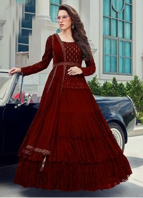 Faux Georgette Embroidered Maroon Anarkali Salwar Kameez
