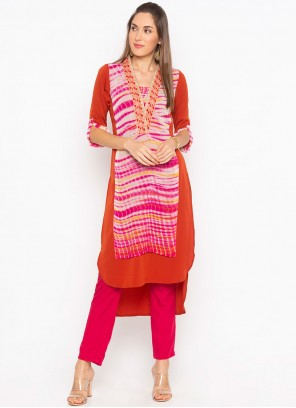 Faux Georgette Embroidered Multi Colour Party Wear Kurti