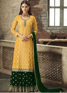 Faux Georgette Embroidered Mustard Trendy Palazzo Salwar Suit