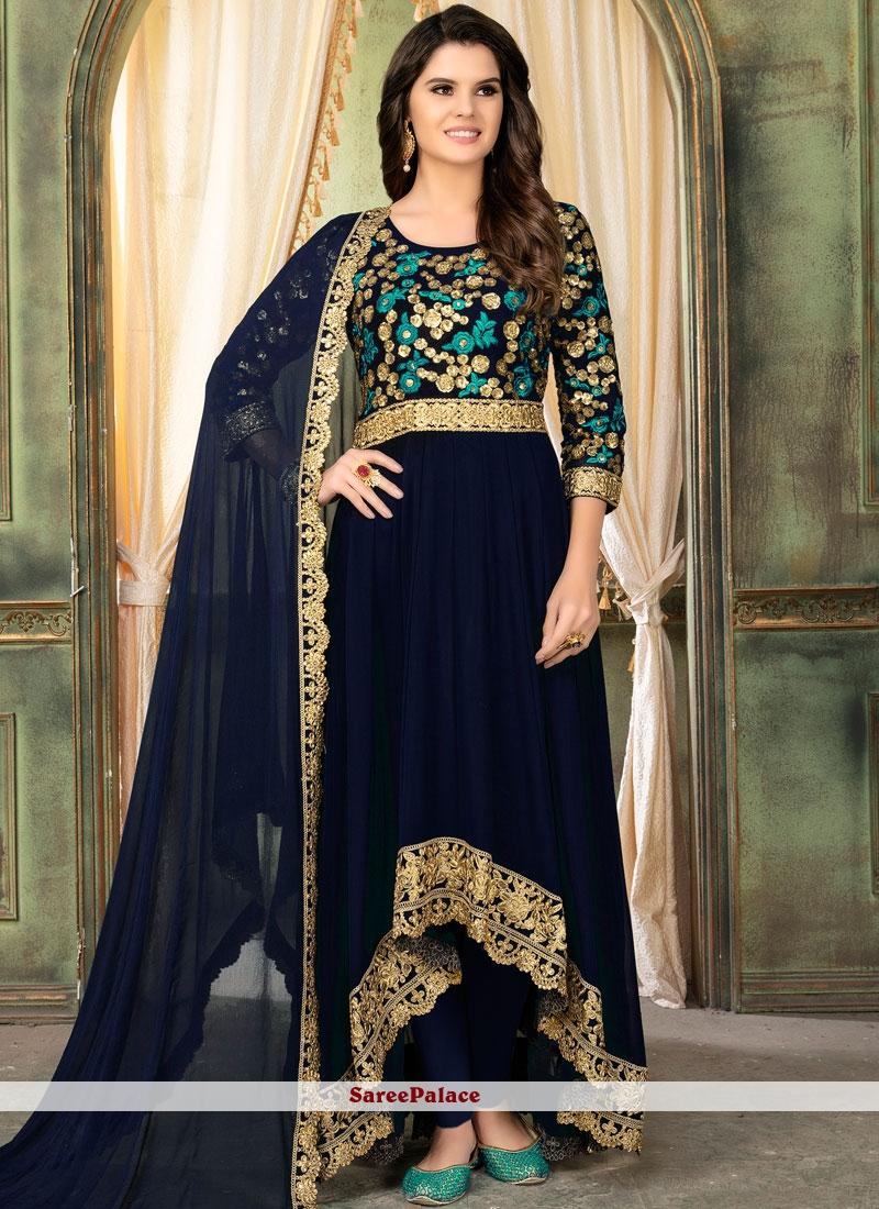 Faux Georgette Embroidered Navy Blue Salwar Kameez