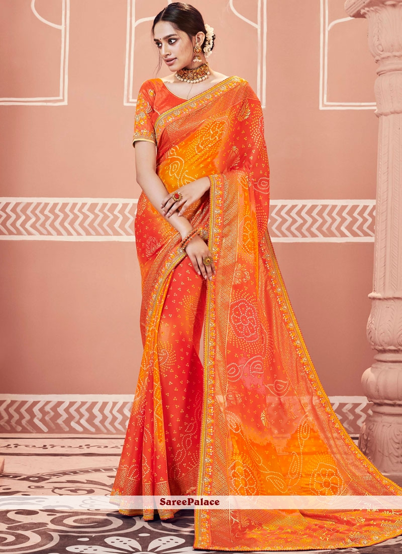 Faux Georgette Embroidered Orange Shaded Saree