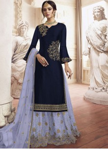 Faux Georgette Embroidered Palazzo Salwar Kameez