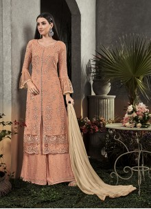 Faux Georgette Embroidered Palazzo Salwar Kameez in Peach