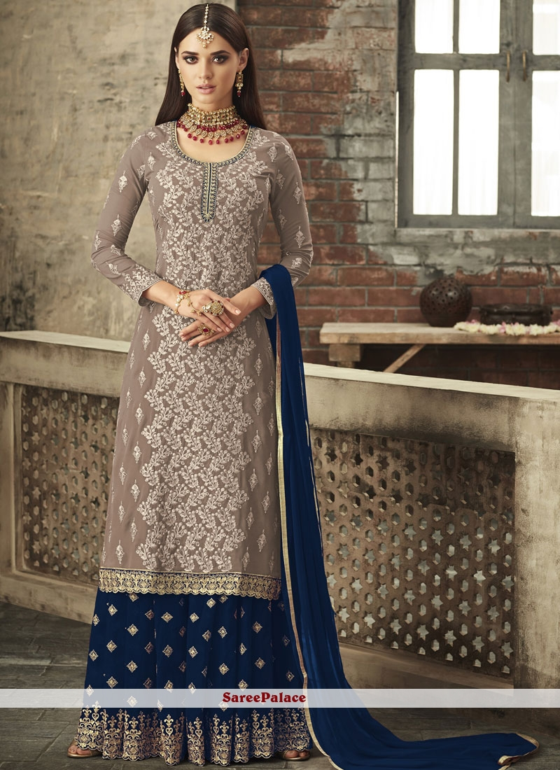 Faux Georgette Embroidered Palazzo Suit