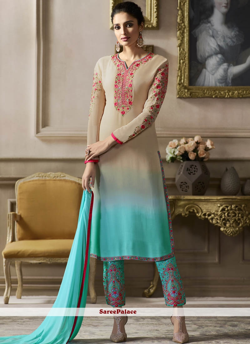 Grey Georgette Embroidered Pant Style Suit