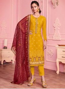 Faux Georgette Embroidered Pant Style Suit in Yellow