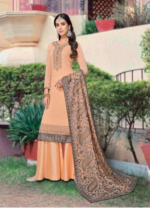 Faux Georgette Embroidered Peach Designer Palazzo Salwar Suit