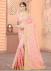 Faux Georgette Embroidered Peach Designer Traditional Saree
