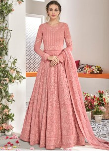 Faux Georgette Embroidered Pink Anarkali Salwar Kameez