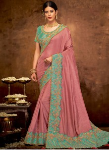 Faux Georgette Embroidered Pink Classic Designer Saree