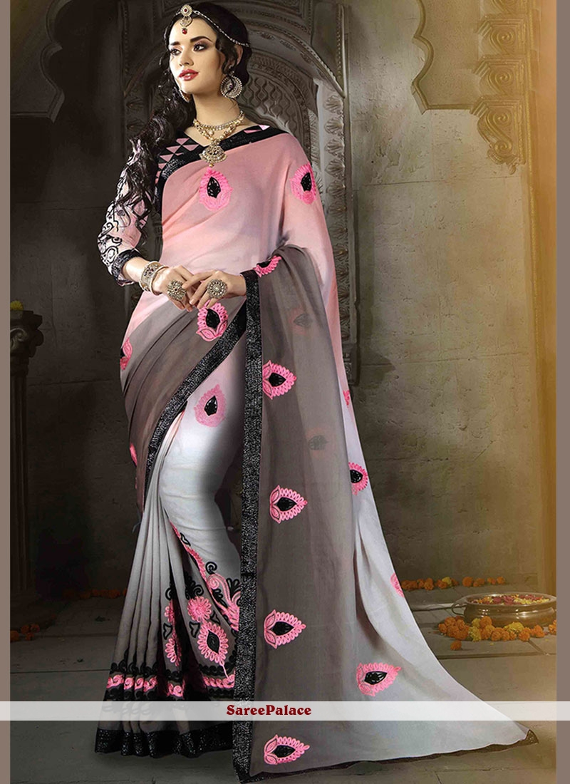 Faux Georgette Embroidered Printed Saree in Multi Colour