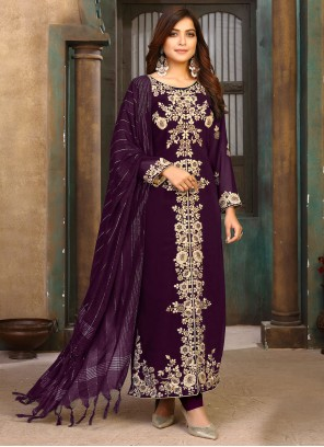 Faux Georgette Embroidered Purple Designer Pakistani Salwar Suit