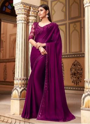 Faux Georgette Embroidered Purple Designer Saree