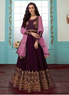 Faux Georgette Embroidered Purple Trendy Anarkali Salwar Kameez