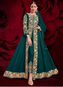 Faux Georgette Embroidered Rama Anarkali Suit