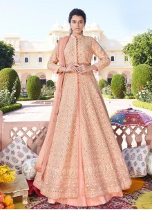 Peach Faux Georgette Embroidered Readymade Anarkali Salwar Suit