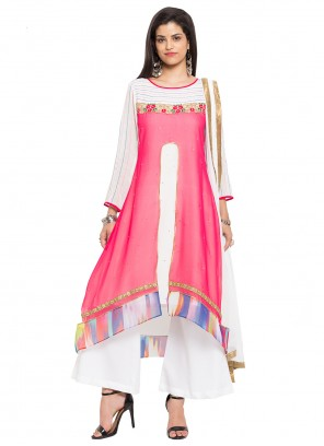 Faux Georgette Embroidered Readymade Salwar Kameez in Pink