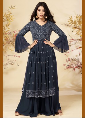 Navy Blue Faux Georgette Embroidered Readymade Suit