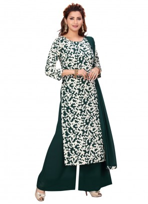Faux Georgette Green Embroidered Readymade Suit
