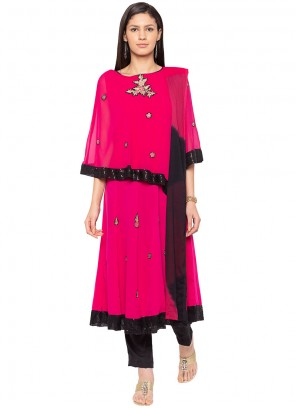 Faux Georgette Embroidered Readymade Suit in Hot Pink