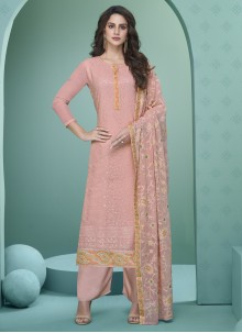 Faux Georgette Embroidered Readymade Suit in Pink