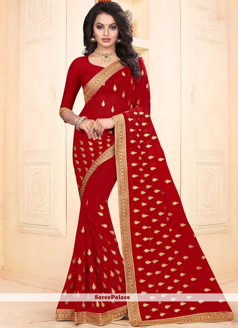 Faux Georgette Embroidered Red Classic Saree