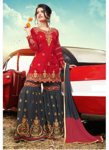 Faux Georgette Embroidered Red Designer Palazzo Salwar Suit