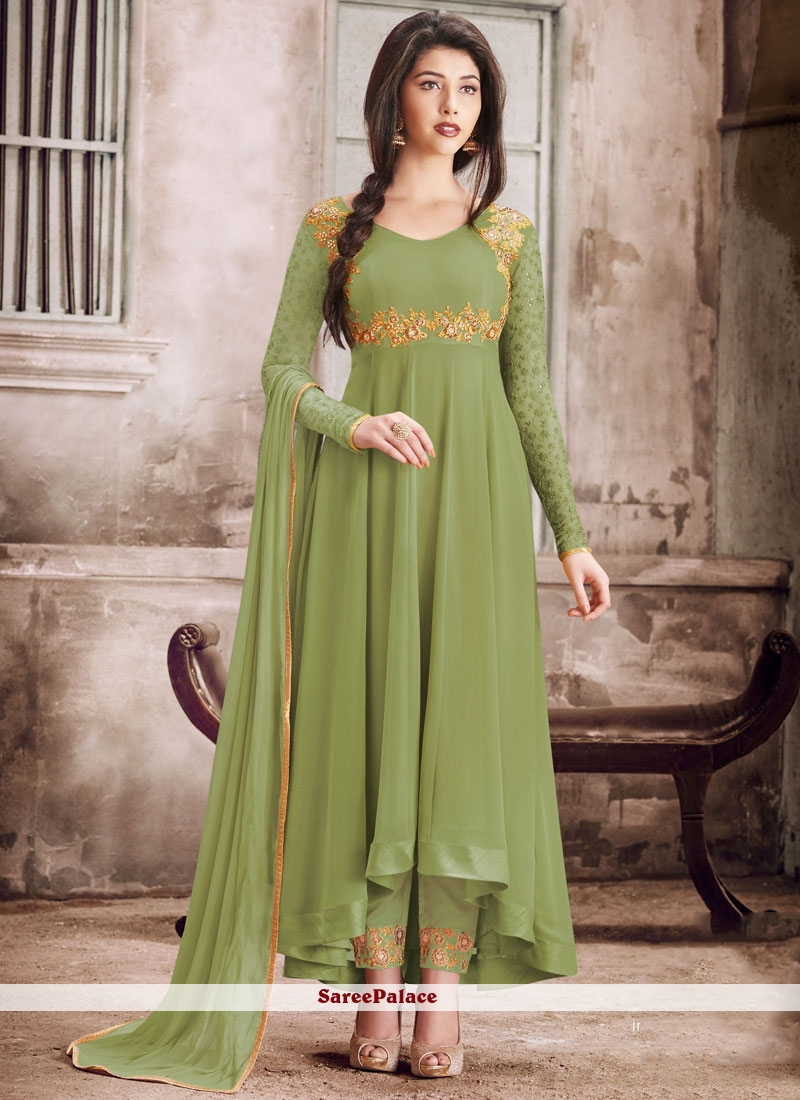 Faux Georgette Embroidered Salwar Suit