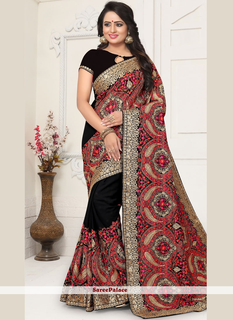 7fc16c26ef Buy Black Faux Georgette Embroidered Saree Online