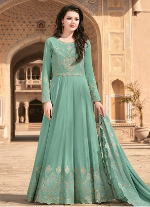 Faux Georgette Embroidered Sea Green Floor Length Designer Suit