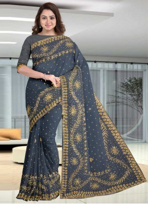 Faux Georgette Embroidered Grey Traditional Designer Saree