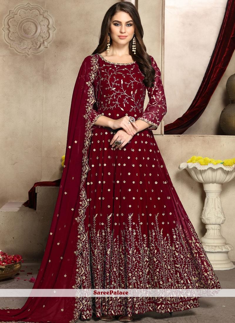 Faux Georgette Embroidered Trendy Anarkali Salwar Kameez in Red