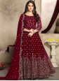 Faux Georgette Embroidered Trendy Anarkali Salwar Kameez in Red
