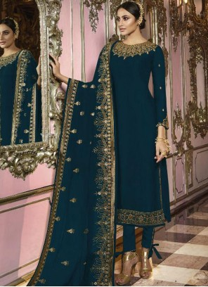 Faux Georgette Embroidered Trendy Churidar Salwar Suit