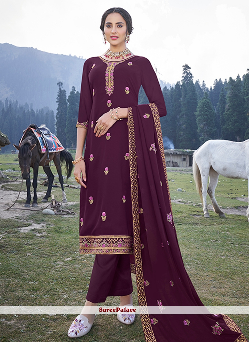 Faux Georgette Embroidered Magenta Trendy Salwar Suit