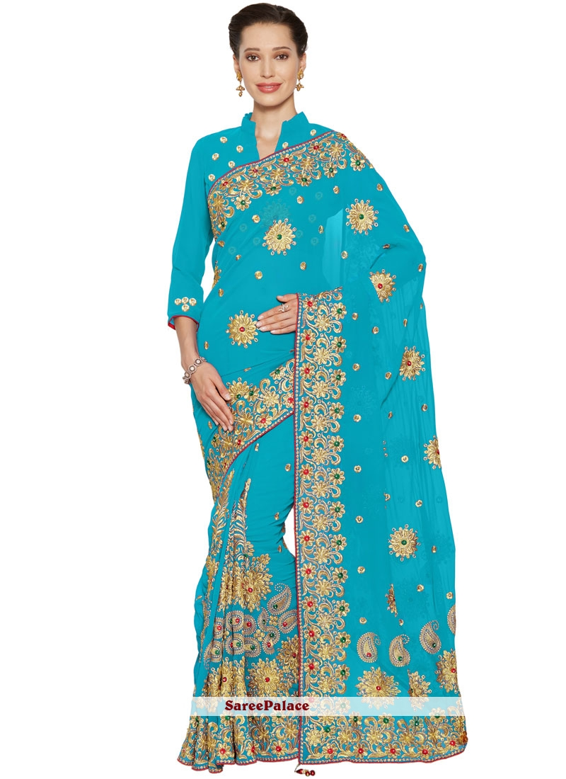 Faux Georgette Embroidered Turquoise Classic Saree