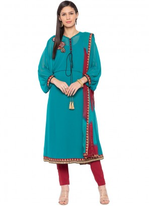 Faux Georgette Embroidered Turquoise Readymade Suit