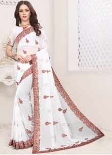 Faux Georgette Embroidered White Classic Saree
